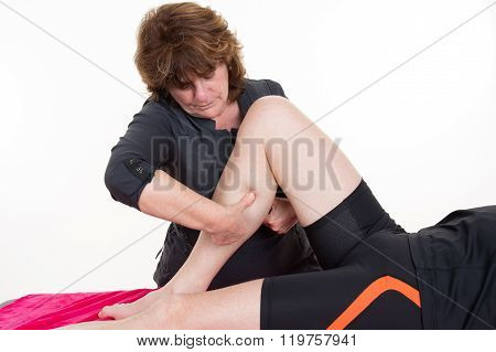 Massage Calf Muscle Massager Oppresses. Masseur Massaged His Calf.