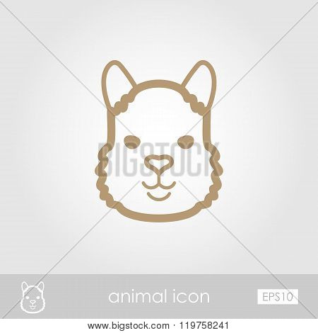 Lama Outline Thin Icon. Animal Head Vector Symbol