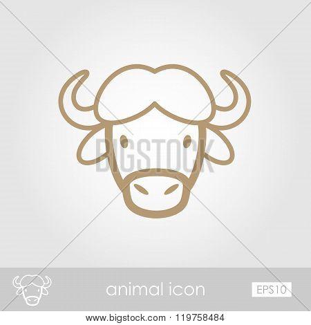 Buffalo Bison Ox Icon. Animal Head Vector Symbol