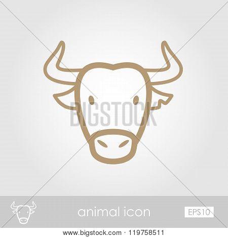 Spanish Bull Buffalo Icon. Animal Head Vector
