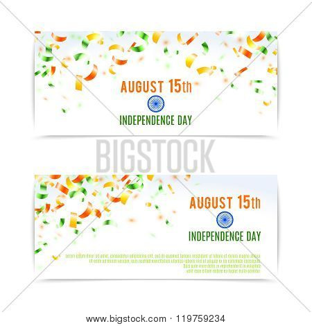Indian Independence Day Banners. Vector Illustration, Eps10.