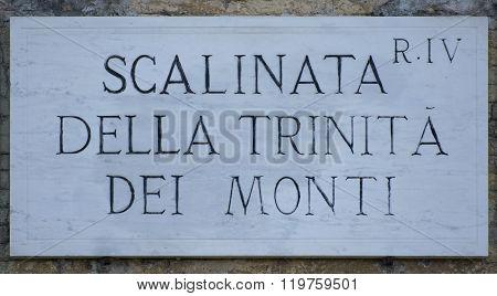 Trinita dei Monti's city plate made in marble