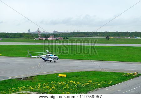 The Mil Mi-8Ps  Helicopter Of Sparc Avia Aviation Company Landing In Pulkovo Airport In Saint-peters