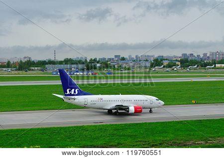 Sas Scandinavian Airlines Boeing 737-683 Aircraft  In Pulkovo International Airport