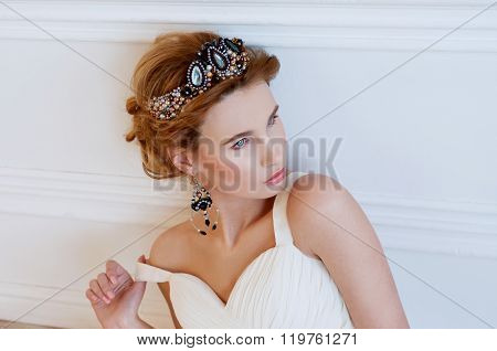 Beautiful royal bride wearing gorgeous  beaded headpiece