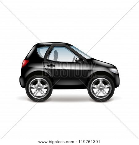 Black car profile isolated on white vector