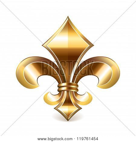 Fleur de lis gold isolated on white vector