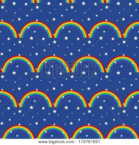 Night Sky Kid Seamless Pattern.
