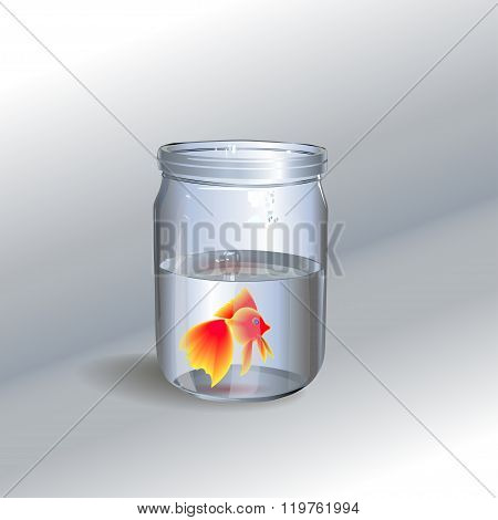 Illustration Of A Fish In A Glass Jar