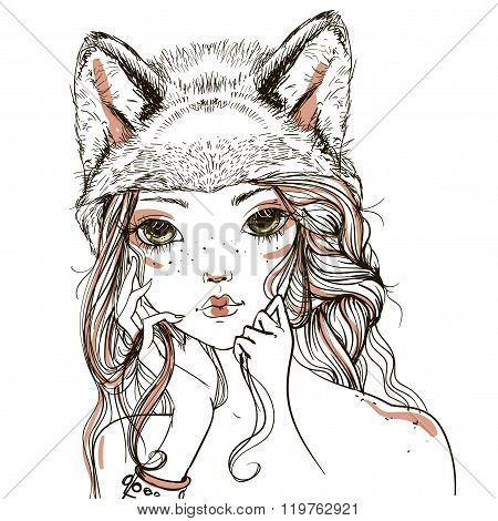 young woman with wolf headdress