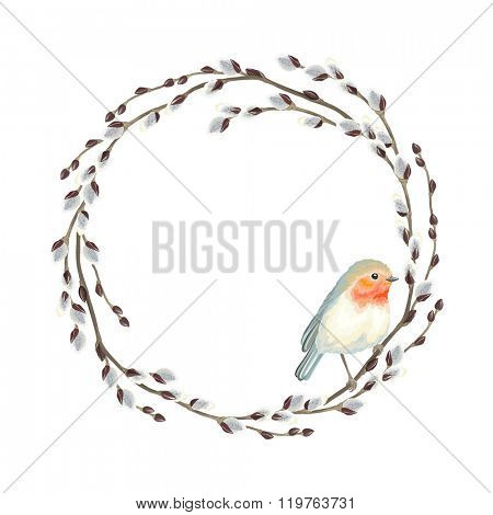 Wreath of Willow branches and bird Robin, vector illustration.