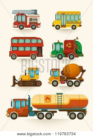 Set of vehicles. Vector illustration.