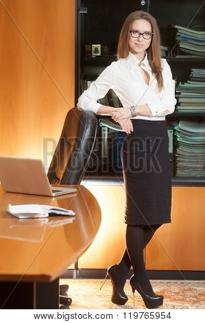 Beautiful Office Girl In Workplace