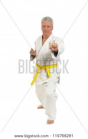 Senior man in karate pose