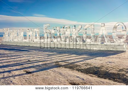 Listvyanka, Russia - 17 February, 2016: 30-meter Ice Inscription