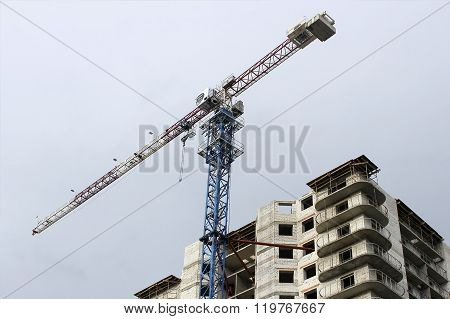 High altitude crane on a building site