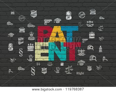 Law concept: Patent on wall background