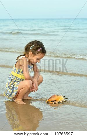 little girl with shell