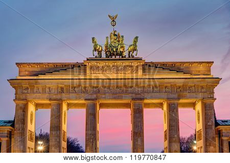 The Brandenburg Gate after sunset