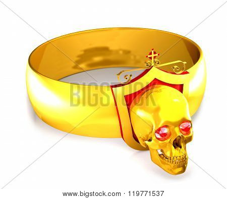 Gold Ring With Diamonds And A Skull And Cross.