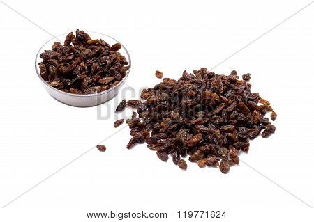 Hill Of Raisin And Nearby Plate With Raisin