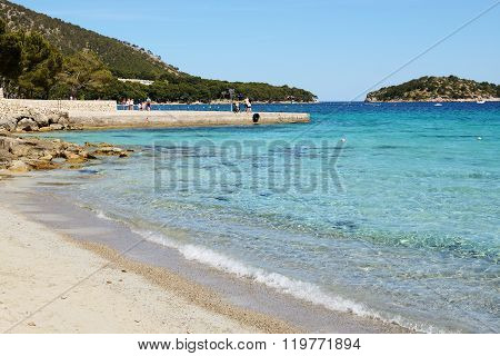 Mallorca, Spain - June 1: The Tourists Enjoiying Their Vacation On The Beach On June 1, 2015 In Mall