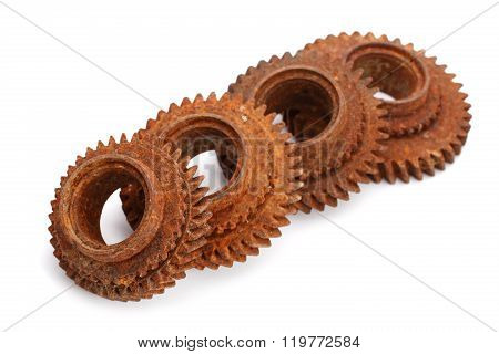 Rusty Gears Isolated On White Background