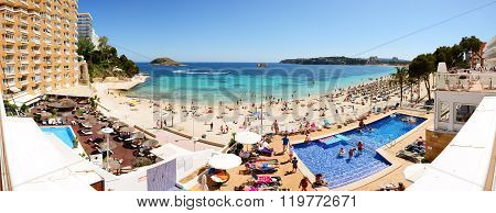 Mallorca, Spain - May 29: The Tourists Enjoiying Their Vacation On The Beach On May 29, 2015 In Mall