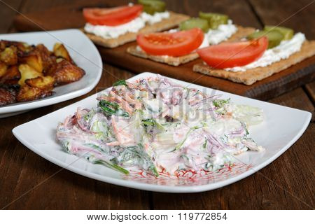 Salad With Vegetables And Cheese Tartlets