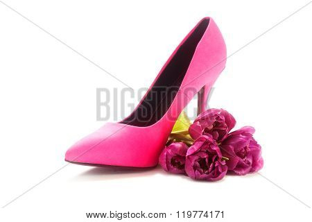 Ladies Pink High Heel Shoe And Tulips On White, Concept Female, Love, Valentines And Womens Day