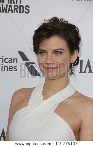 LOS ANGELES - FEB 27:  Lauren Cohan at the 2016 Film Independent Spirit Awards at the Santa Monica Beach on February 27, 2016 in Santa Monica, CA