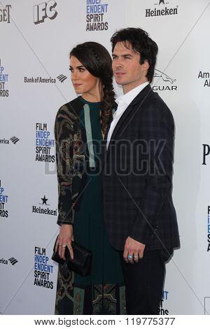 LOS ANGELES - FEB 27:  Nikki Reed, Ian Somerhalder at the 2016 Film Independent Spirit Awards at the Santa Monica Beach on February 27, 2016 in Santa Monica, CA