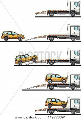 Set of auto transporter and car isolated on white background in flat style in different positions. V