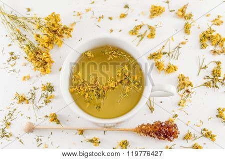 St Johns Wort Tea And Surrounded By Dried Plants