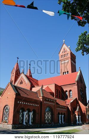Catholic Red Chapel St Simon And St Elena. Minsk. Belarus.