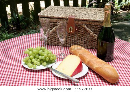 A table in the park set with a picnic for two.