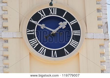 The Clock On The Town Hall In Corfu. Greece.
