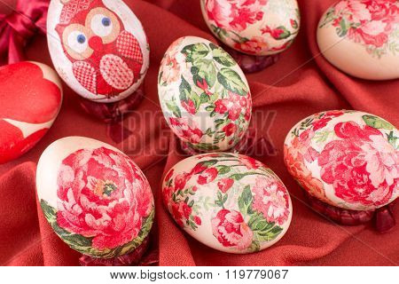 Decorated Easter Eggs On Red Silk