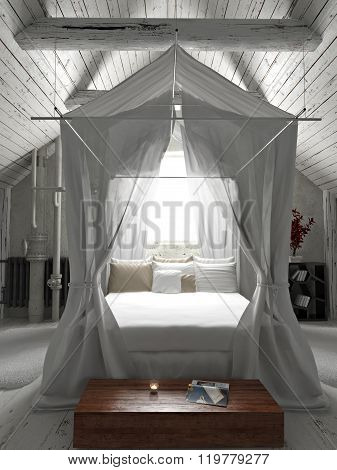 Rustic charming bedroom with draped canopy bed