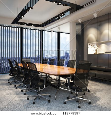 Executive modern empty business office conference room overlooking a city.