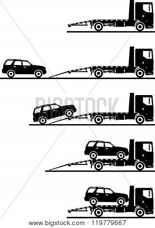 Set of silhouettes auto transporter and car isolated on white background in different positions. Vec