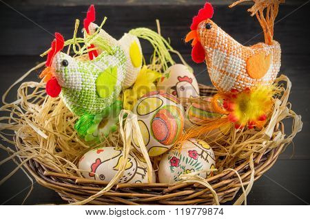 Decoupage Decorated Easter Eggs And Chickens Family