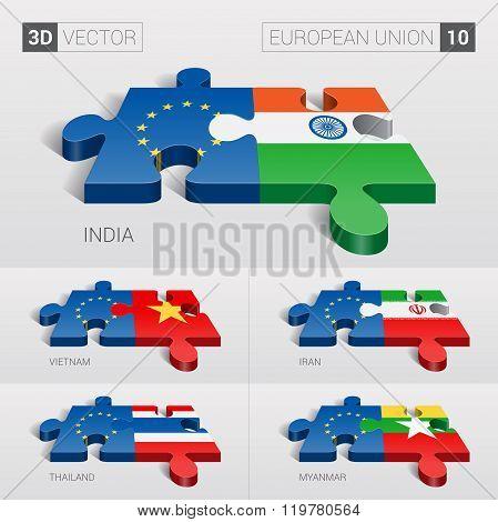 European Union Flag. 3d vector puzzle. Set 10.