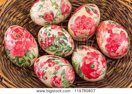 Decorated Easter Eggs In A Basket Close Up