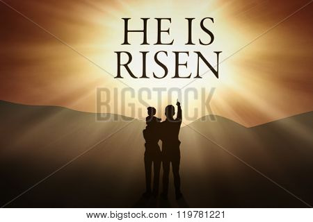 Christian Family And Text Of He Is Risen