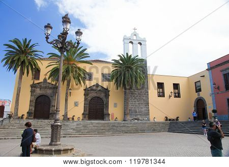 GARACHICO SPAIN - JANUARY 20 2016: Old Franciscan Convent in the town of Garachico Tenerife Canary Islands Spain