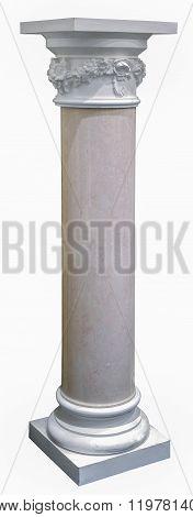 Columns, Decoration Item Made Of White Plaster