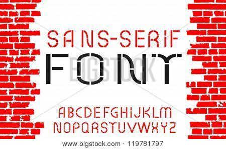 Red Sans-serif Modern Font On Old Brick Wall Background. Vector Illustration