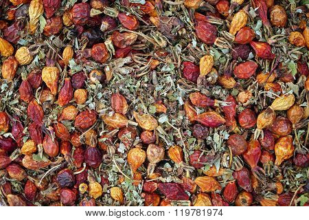 dried rosehips and leaves background