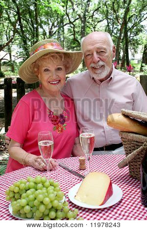 An attractive senior couple enjoying a picnic outdoors.